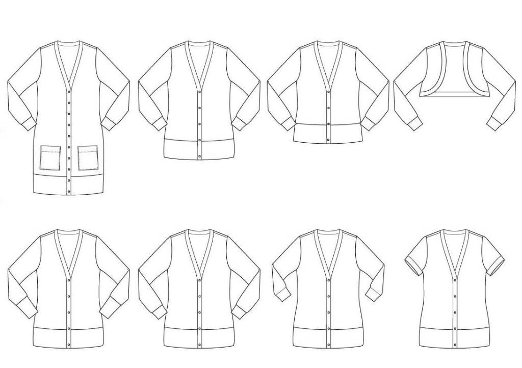 Aveiro cardigan line drawing